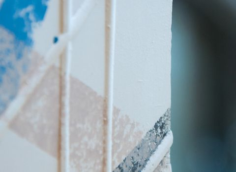 White, Blue, Wall, Material property, Room, Stairs, Ceiling, Triangle,