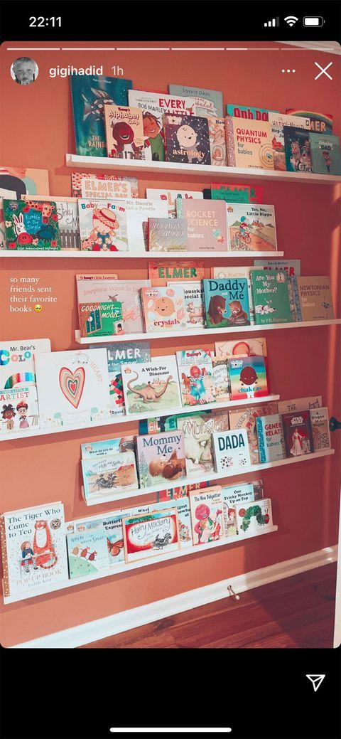 gigi hadid's nursery books