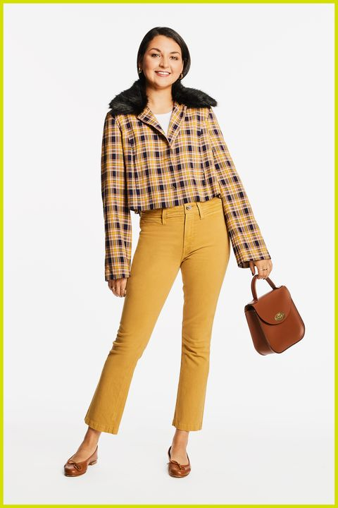 Kleidung, Modemodell, Jeans, Gelb, Kariert, Braun, Mode, Taille, Schuhe, Muster,