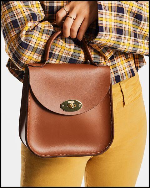 Tasche, Handtasche, Leder, Braun, Kariert, Tan, Schulter, Tartan, Modeaccessoire, Mode,