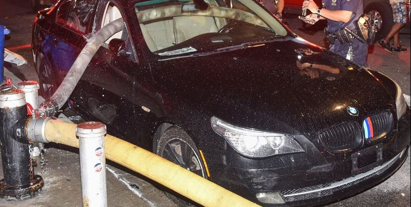 Firefighters Smash Windows of BMW Parked in Front of Hydrant