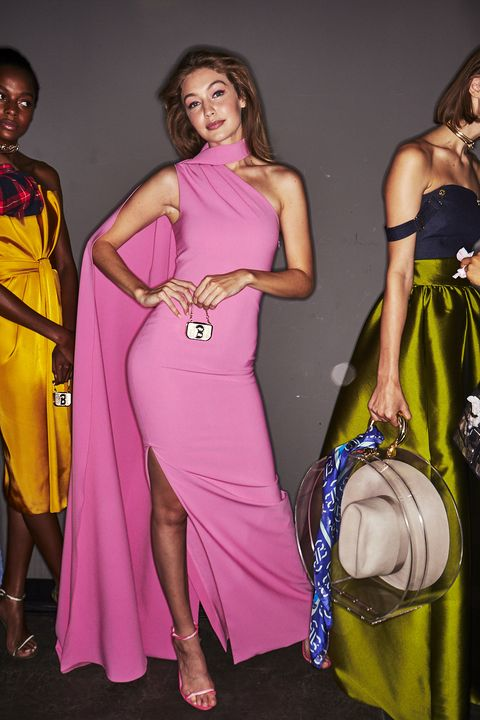 Clothing, Fashion model, Shoulder, Pink, Fashion, Dress, Yellow, Purple, Formal wear, Magenta,