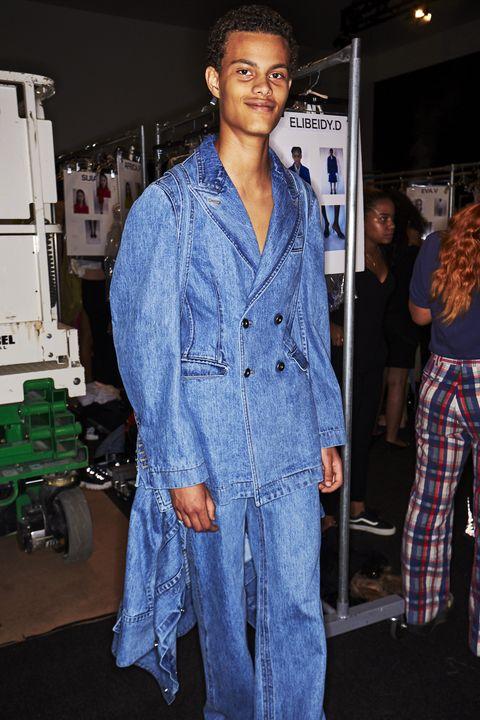Denim, Clothing, Jeans, Fashion, Fashion design, Textile, Outerwear, Street fashion, Electric blue, Fashion show,