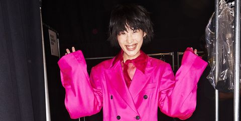 Pink, Clothing, Fashion, Magenta, Outerwear, Performance, Coat, Room, Textile, Formal wear,