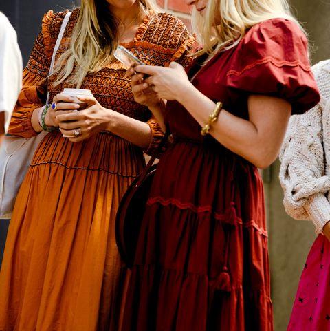 Dress, Peach, Fashion design, Long hair, Formal wear, Tradition, Costume design,