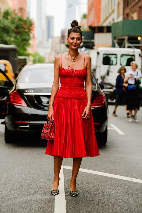 Clothing, Street fashion, Photograph, Dress, Red, Fashion model, Fashion, Beauty, Snapshot, Shoulder,