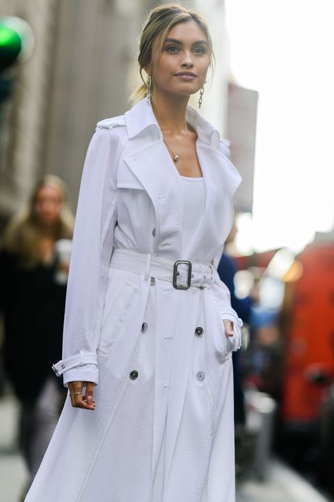 White, Trench coat, Clothing, Street fashion, Coat, Fashion, Overcoat, Fashion model, Outerwear, Haute couture,