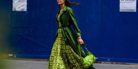 Green, Clothing, Fashion, Blue, Street fashion, Yellow, Footwear, Fashion design, Outerwear, Dress,
