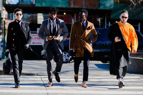 People, Street fashion, Pedestrian, Suit, Fashion, Snapshot, Street, Human, Footwear, Urban area,