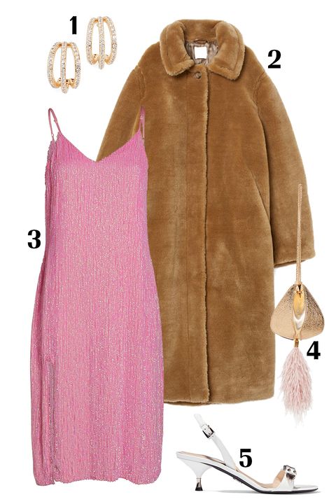 Clothing, Pink, Outerwear, Brown, Coat, Fur, Sleeve, Overcoat, Footwear, Textile,