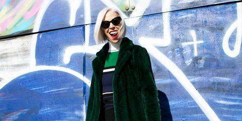Eyewear, Blue, Trousers, Denim, Jacket, Jeans, Outerwear, Sunglasses, Coat, Street fashion,