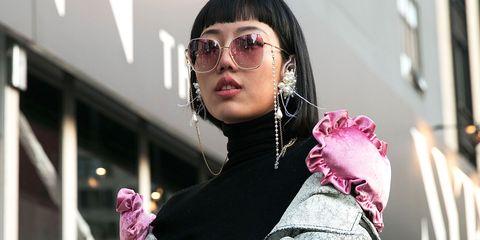 Eyewear, Pink, Sunglasses, Glasses, Lip, Cool, Fashion, Vision care, Human, Fun,