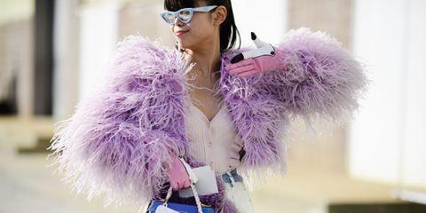 Fur, Purple, Street fashion, Lavender, Fur clothing, Fashion, Pink, Violet, Glasses, Lilac,