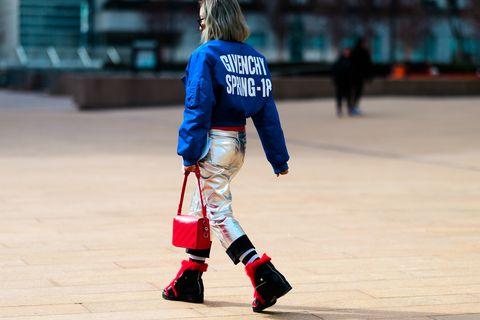 Street fashion, Fashion, Footwear, Human, Fun, Leg, Knee, Electric blue, Sports equipment, Human leg,
