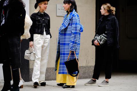 Fashion, Street fashion, Plaid, Tartan, Pattern, Design, Textile, Human, Outerwear, Fashion design,