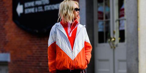 Red, Orange, Street fashion, Fashion, Snapshot, Human, Jeans, Street, Footwear, Outerwear,