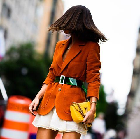 Orange, Street fashion, Clothing, Fashion, Yellow, Beauty, Snapshot, Shoulder, Jacket, Outerwear,