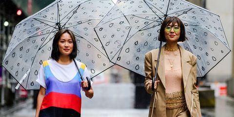 Fashion, Street fashion, Yellow, Umbrella, Human, Runway, Fun, Outerwear, Rain, Fashion show,