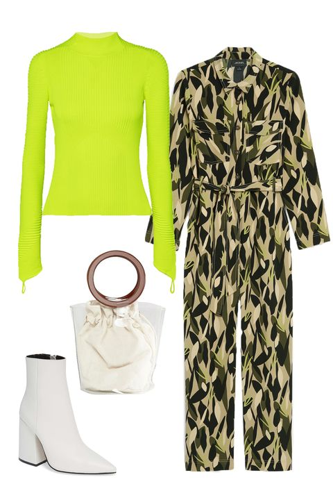 Clothing, Green, White, Yellow, Sleeve, Fashion, Outerwear, Footwear, Trousers, T-shirt,