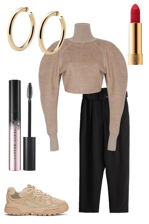Clothing, Beige, Wine bottle, Trousers, Dress, Bottle, Costume,