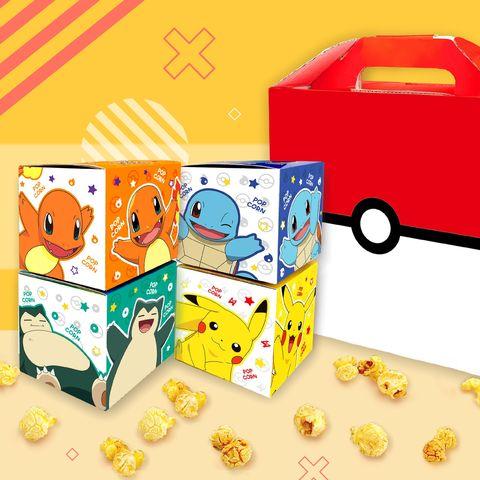 紅白色寶可夢的紙盒與橘色、藍色、綠色、黃色的方形紙盒