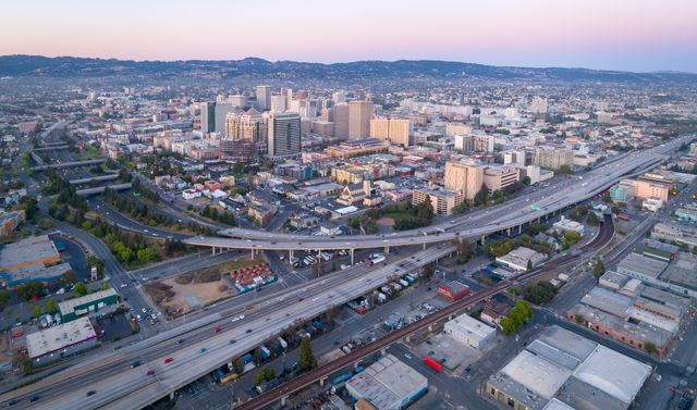 aerial oakland city skyline at sunset california, usa