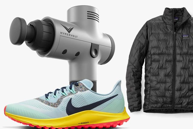 a massage gun, shoe, and jacket