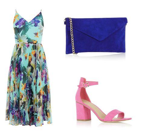 Blue, Textile, High heels, Dress, One-piece garment, Purple, Magenta, Fashion, Sandal, Teal,