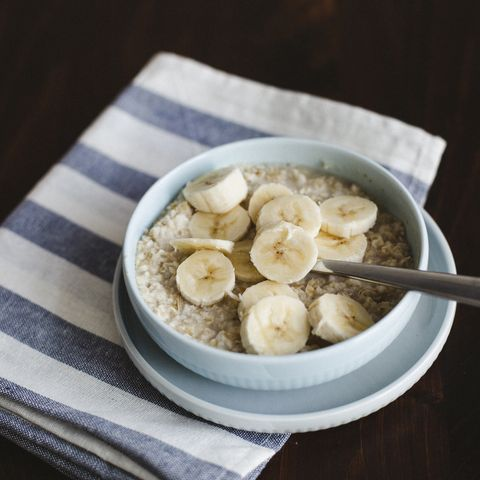 oatmeal, banana, cream and maple syrup