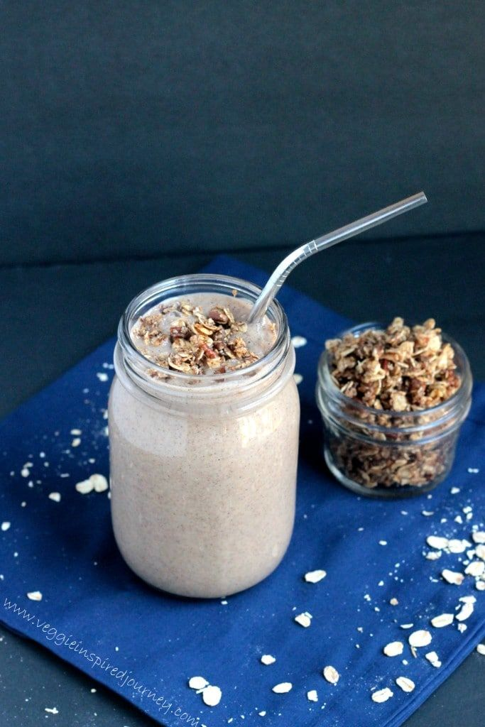 Oatmeal Cinnamon Smoothie With Oatmeal Cookie Crumble Morning oats get a crunchy and creamy upgrade with this filling smoothie packed with dates, pecans, and—you guessed it—old-fashioned oats. Get the recipe Per serving: 417 calories, 14 g fat (5 g saturated), 69 g carbs, 33 g sugar, 503 mg sodium, 10 g fiber, 7 g protein