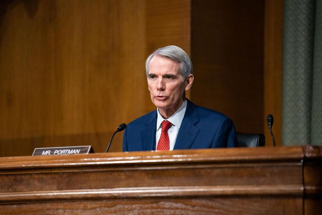 senator rob portman, r oh speaks during a hearing for janet yellen, president elect joe bidens nominee for secretary of the treasury,as she participates in a senate finance committee hearing in washington dc, on january 19, 2021   biden, who will take office on january 20, 2021, has proposed a 19 trillion rescue package to help businesses and families struggling amid the pandemic, and yellen would be tasked with getting that massive bill through a congress where some are wary of the skyrocketing budget deficit photo by anna moneymaker  pool  afp photo by anna moneymakerpoolafp via getty images