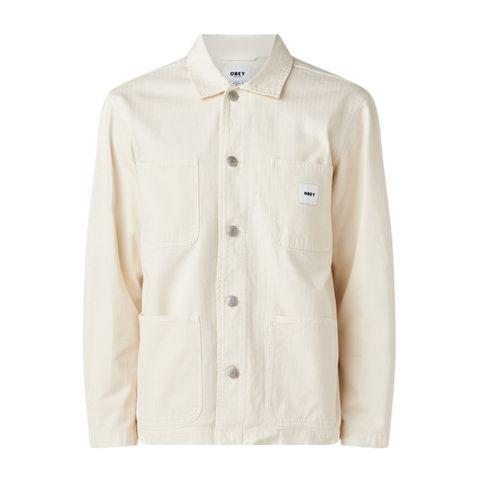 obey marshall jack opgestikte zakken gebroken wit zomerjas jas jacket