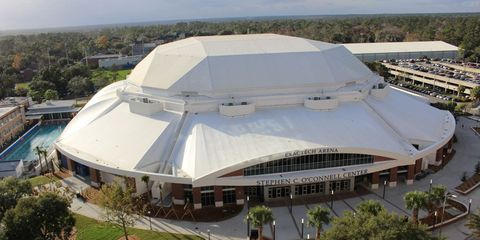 Sport venue, Stadium, Arena, Architecture, Aerial photography, Dome, Building, Soccer-specific stadium, Bird's-eye view,