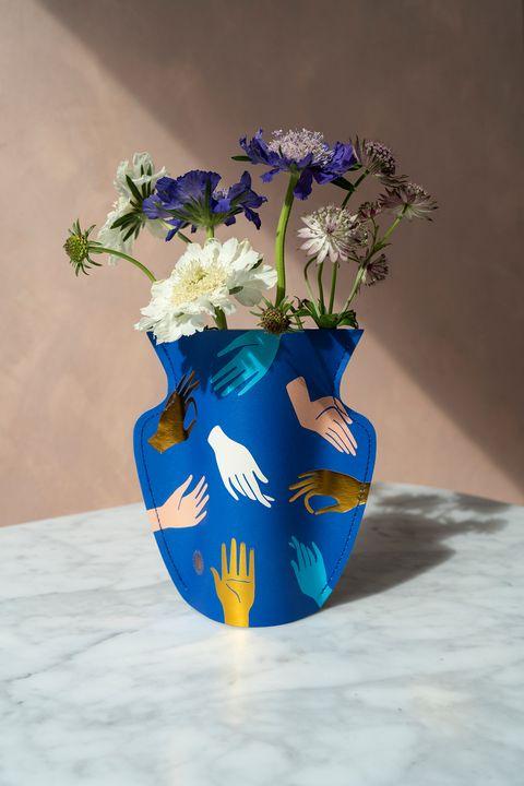 florero de papel hamsa
