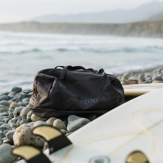 a duffel bag on a beach