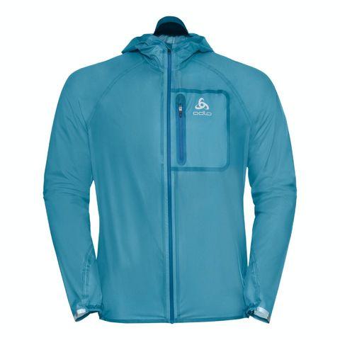 odlo zeroweight dual dry waterproof jacket blauw hardloopjack jas