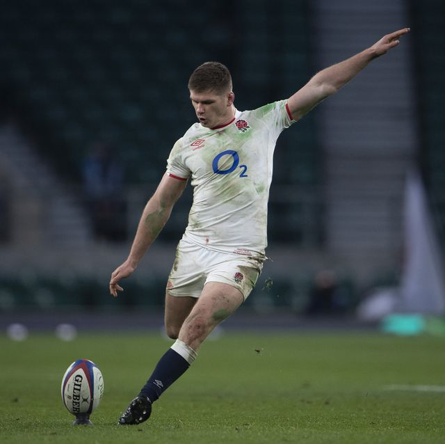 london, england   december 06 owen farrell of england during the autumn nations cup final  quilter international between england and france at twickenham stadium on december 06, 2020 in london, england a limited number of fans 2000 are welcomed back to stadiums to watch elite sport across england this was following easing of restrictions on spectators in tiers one and two areas only photo visionhaus
