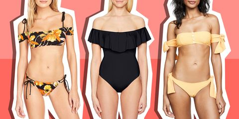 off-the-shoulder swimsuits