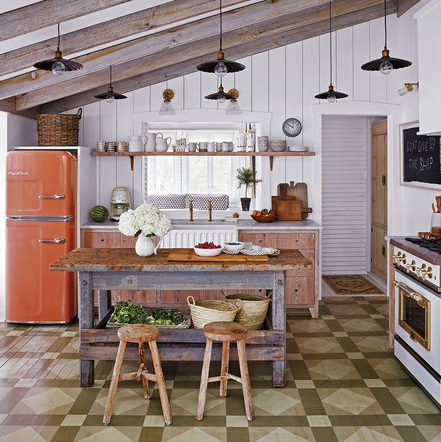 cocina con office de estilo rústico
