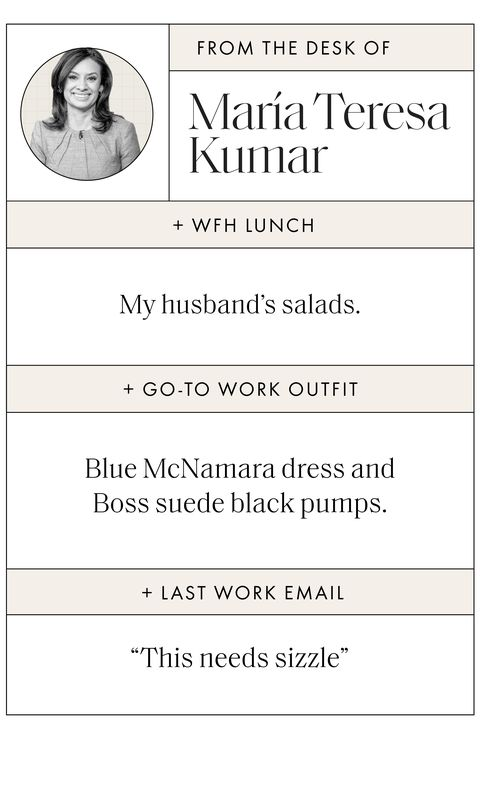 "sidebar image with text that reads wfh lunch my husband's salads, go to work outfit blue mcnamara dress and boss suede black pumps, last work email ""this needs sizzle"""