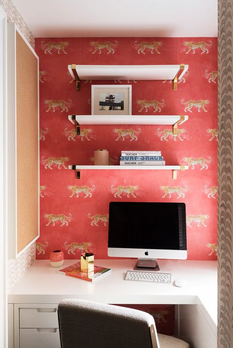 Wall, Room, Red, Pink, Furniture, Wallpaper, Interior design, Shelf, Computer desk, Material property,