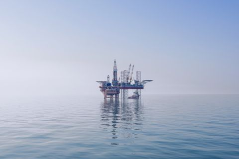 offshore oil rig in east china sea