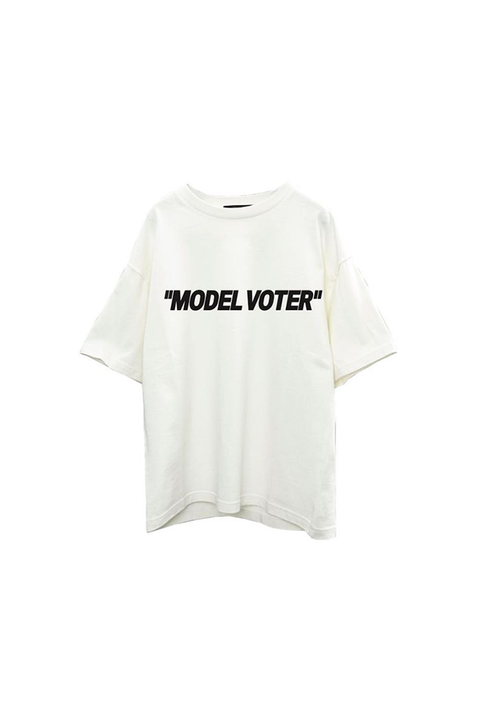 vote, voting, off white, virgil abloh, graphic tee, graphic t shirt, politics, election, presidential election, dnc, rnc, republican, demcrat, joe biden, donald trump, the realreal, fashion our future, fof