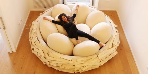 Egg, Room, Furniture, Interior design, Comfort, Table, Bird nest, Food,