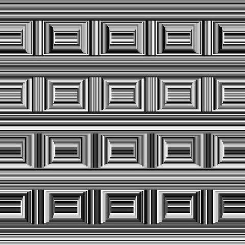 a black and white illustration shows what appear to be picture frame like rectangles, but which are made by superimposed circles of perpendicular lines