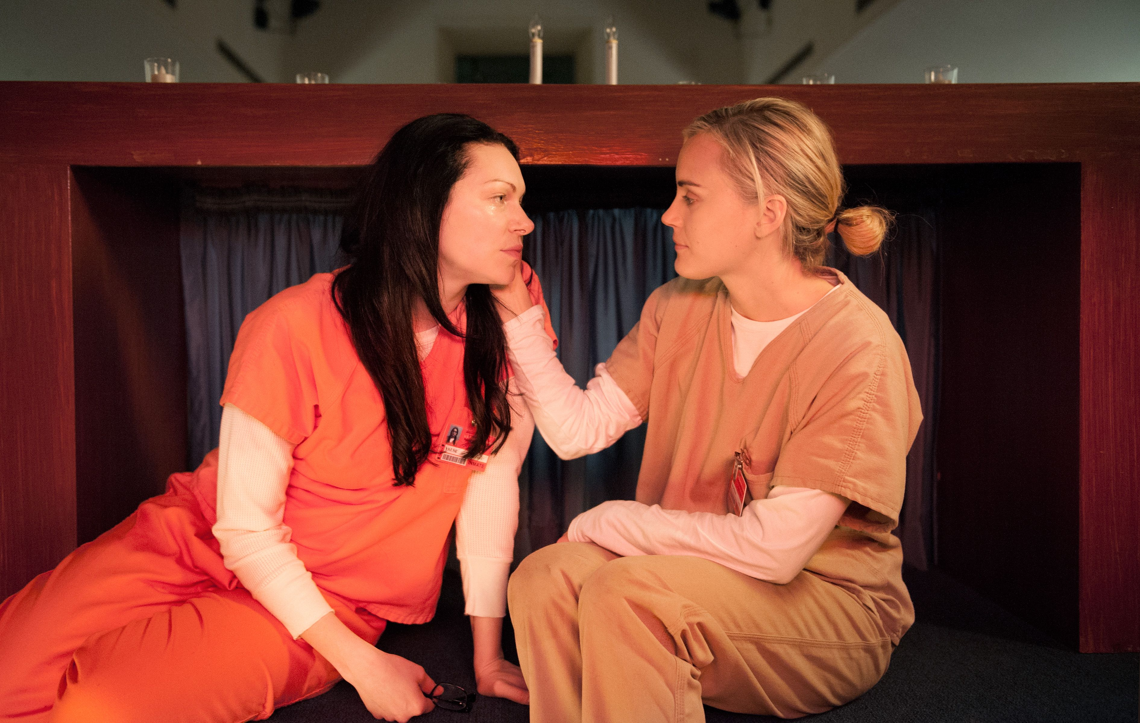 'Orange is the New Black' Orange takes place in a woman's prison and the catalyst for the show involves a lesbian romance—there's no question about how naked this show gets.