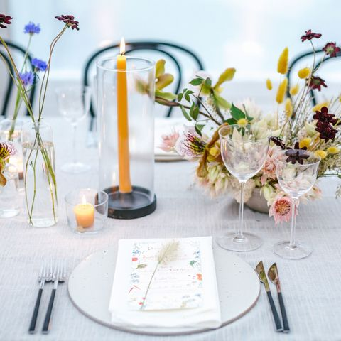 Floristry, Floral design, Flower Arranging, Yellow, Flower, Table, Centrepiece, Rehearsal dinner, Decoration, Plant,