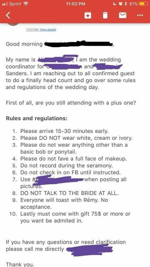 A Casual List Of Rules For Wedding Guests