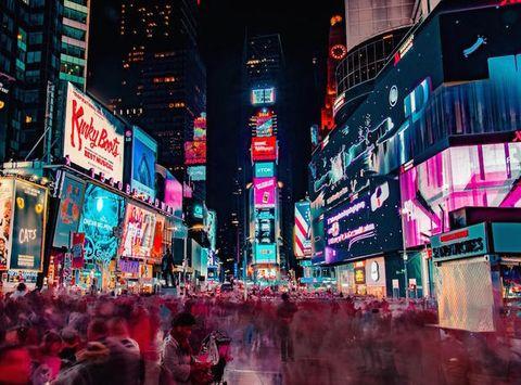 Metropolis, Metropolitan area, Urban area, City, Night, Pink, Light, Human settlement, Cityscape, Downtown,