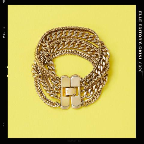 Fashion accessory, Jewellery, Chain, Font, Bracelet, Bangle, Gold, Metal,